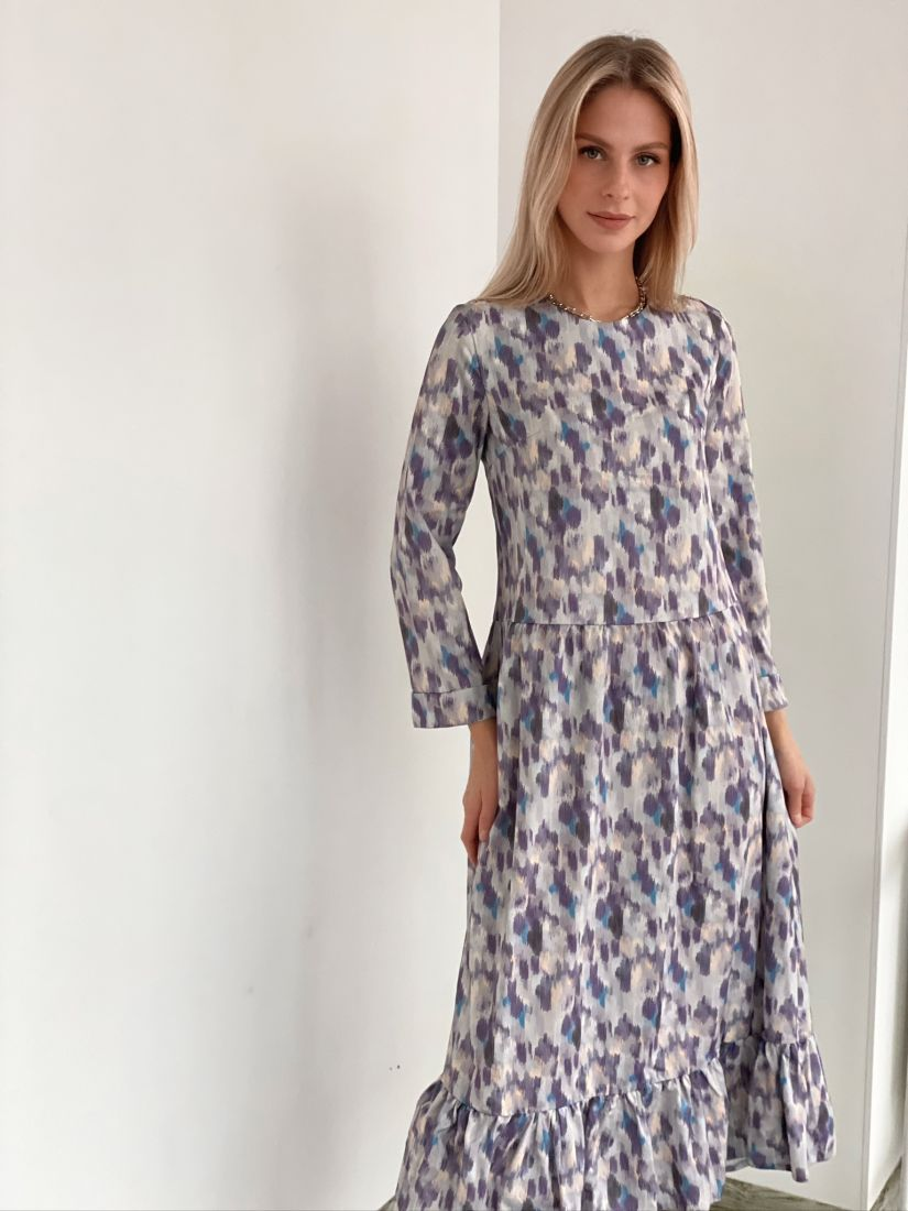 """m2888 Трехъярусное платье длины """"миди"""" с принтом"""