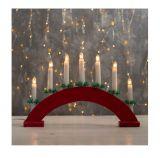 Рождественская горка 7 свечей полукруглая красная