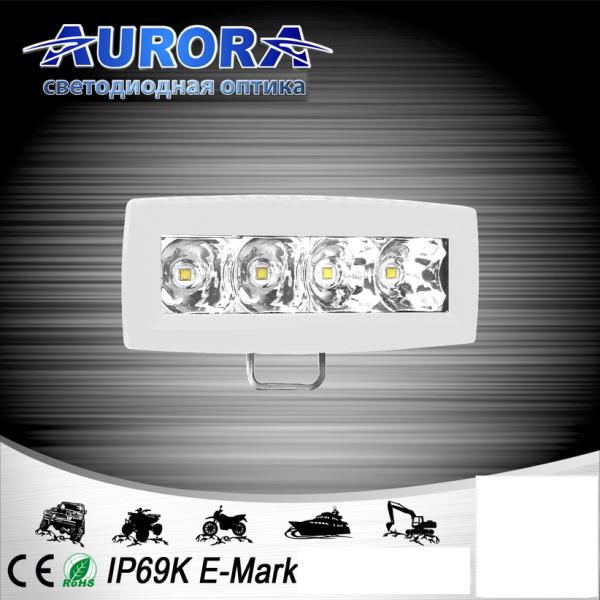 Прямоугольная светодиодная фара точечного свечения 20W AURORA ALO-M-L-4-P7J (белый корпус)