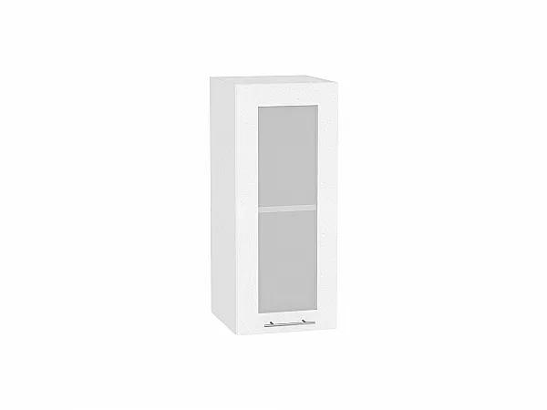 Шкаф верхний Валерия В300 со стеклом (белый металлик)