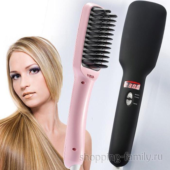 Расческа выпрямитель для волос Ptc Heating 2 В 1, розовая
