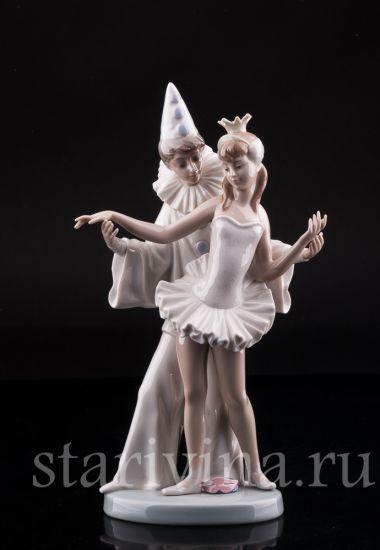 """Изображение """"Карнавал"""", Пьеро и балерина, Lladro, Испания, 1971-1974 гг."""