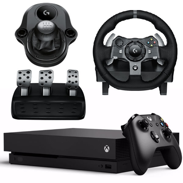 Игровая приставка Microsoft Xbox One X 1 ТБ + Руль Logitech G920 + Driving Force Shifter