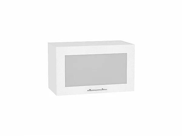 Шкаф верхний Валерия ВГ600 со стеклом (белый металлик)