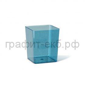Стакан для ручек ErichKrause Base Glitter квадратный прозрачный голубой 53240