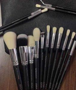 Копия Кисти для макияжа Zoeva 15 шт - набор BLACK с белым ворсом