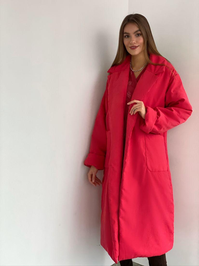 s3084 Пуховик зимний на альполюксе красно-розовый