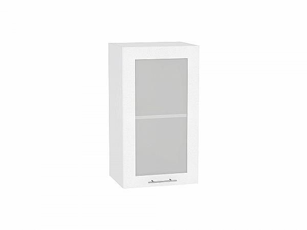 Шкаф верхний Валерия В400 со стеклом (белый металлик)