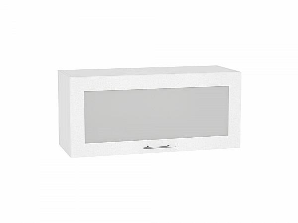 Шкаф верхний Валерия ВГ800 со стеклом (белый металлик)