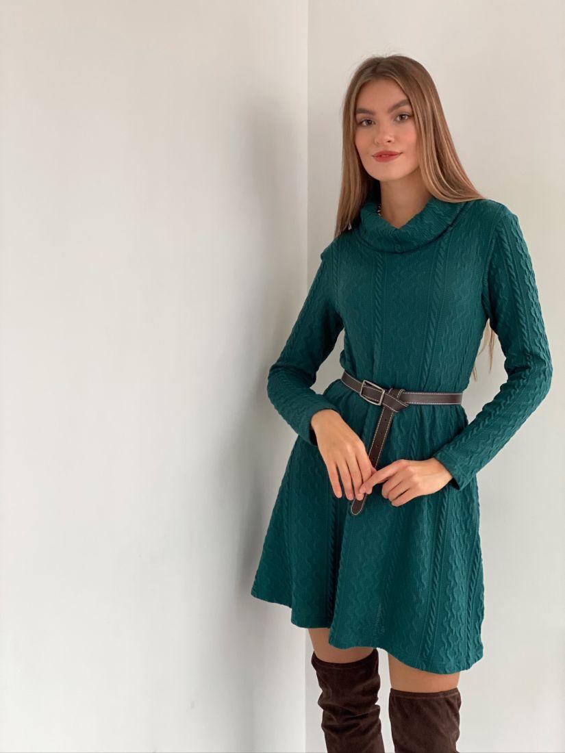 s3093 Платье-свитер сине-зелёное