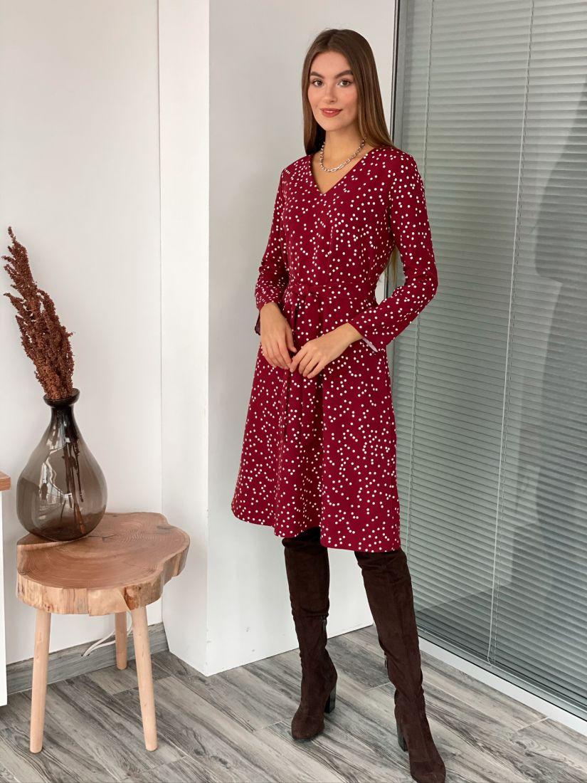 s3095 Платье бордовое в горох