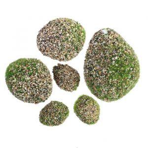 Мох искусственный «Камни», с каменной крошкой, набор 6 шт.