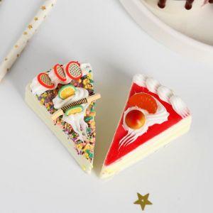 """Муляж """"Кусок тортика"""" 6,5х4,5х3 см микс   5213284"""