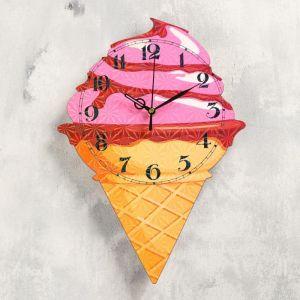 """Часы настенные """"Мороженое-рожок"""", 32х23, плавный ход, стрелки микс  5233991"""