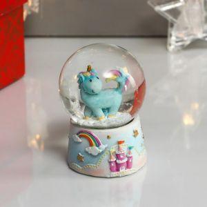 """Сувенир полистоун водяной шар """"Голубой единорожек, замок и радуга"""" d=4,5 см 6,5х4,5х4,5 см   4822293"""
