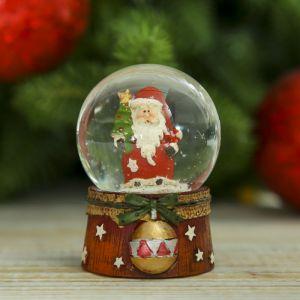 "Сувенир полистоун водяной шар ""Дед Мороз с шариком"" 6,5х4,5х4,5 см 2005329"