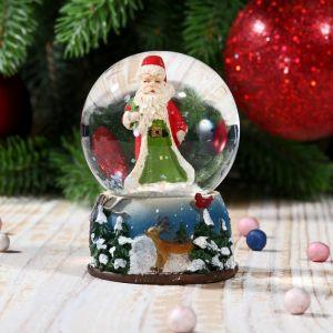 """Сувенир - снежный шар водяной """"Дед Мороз в лесу"""""""