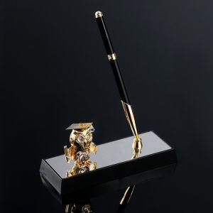 Ручка на подставке «Сова», 16?6?19 см, с кристаллами Сваровски 3844459