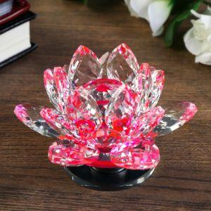 "Сувенир стекло ""Розовый лотос на подставке"" вращается 5,5х9х9 см   4641602"