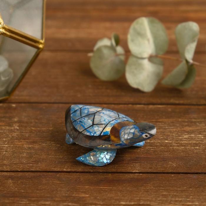 """Сувенир из ракушки """"Синяя черепашка"""" 8х5,5х2,5 см   5013882"""