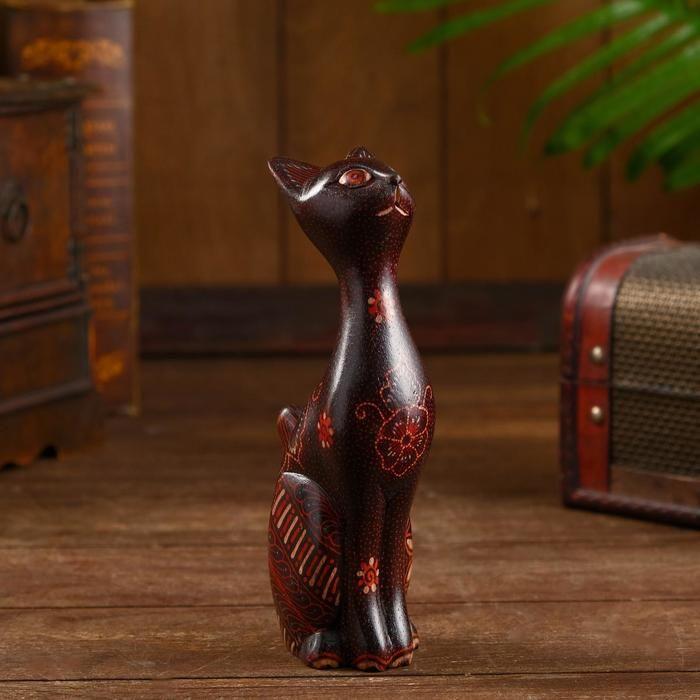 "Интерьерный сувенир ""Котя"" дерево, батик 18 см   5013472"