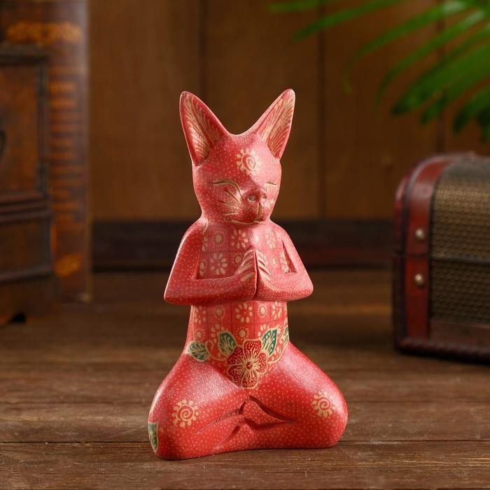 """Интерьерный сувенир """"Кошечка дзен"""" дерево, батик 17 см   5013466"""