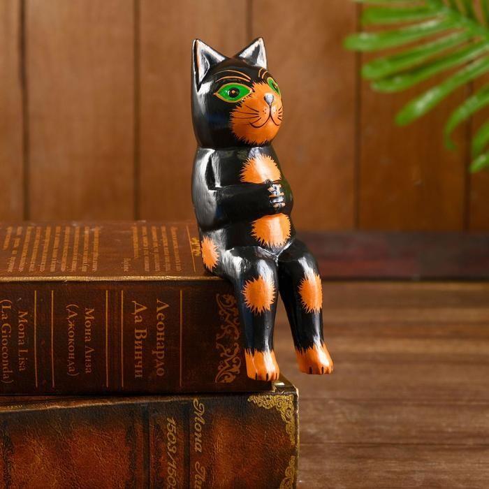 """Интерьерный сувенир """"Кот рыбак"""" чёрный 20 см 5376387"""
