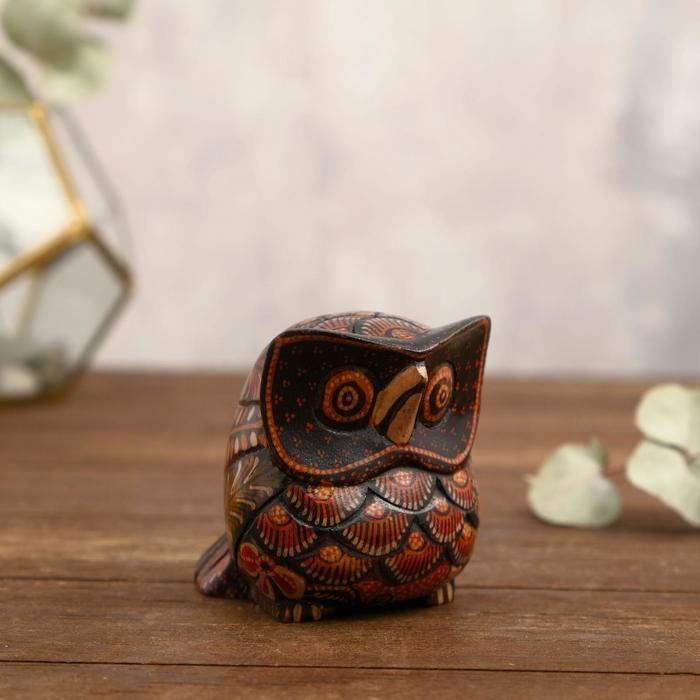 """Интерьерный сувенир """"Расписной совёнок"""" дерево, батик 9 см   5013491"""