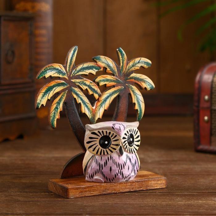 "Сувенир из дерева ""Сова у пальмы"" 14х6х15 см    5013680"