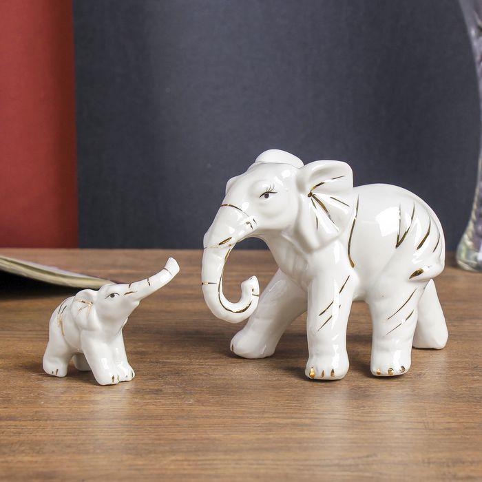 "Сувенир керамика ""Слониха со слонёнком"" белые набор 2 шт 10,5х19,5х7 см 1971442"