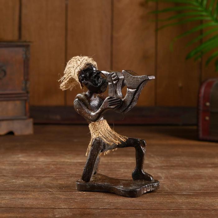 """Сувенир из дерева """"Абориген музыкант"""" 16х7х20 см   5013722"""