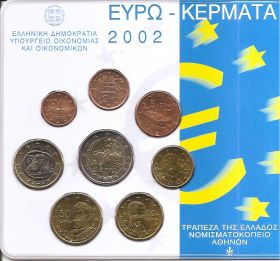 Официальный набор евро-монет  Греция 2002 BU (8 монет)