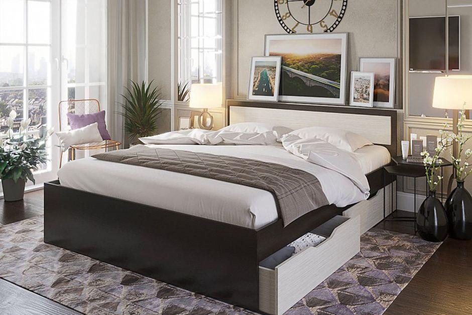 Кровать  Гармония КР-604 1,6м с ящиками