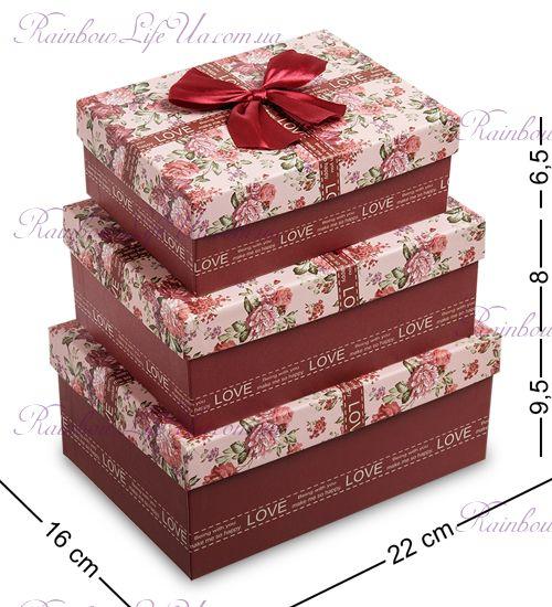 """Набор подарочных коробок 3 штуки """"Цветочки"""""""