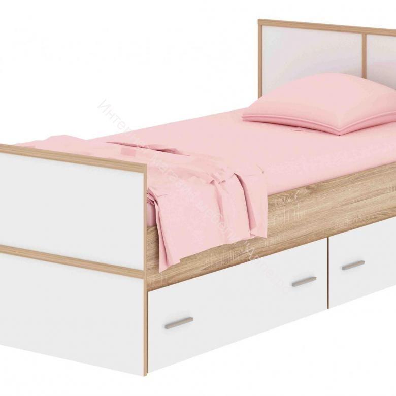 """Кровать """"Сакура"""" с ящиками 900*2000 Дуб сонома/Белый глянец"""