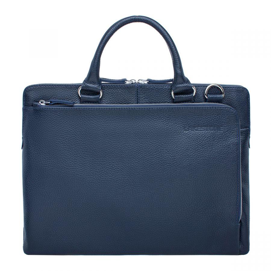 Деловая мужская кожаная сумка Lakestone Albert Dark Blue
