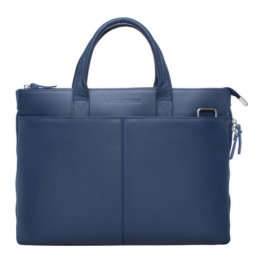 Деловая мужская кожаная сумка Lakestone Bolton Dark Blue