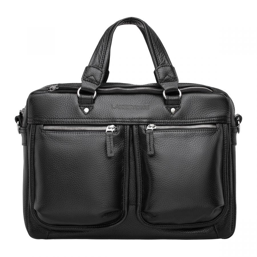 Деловая мужская кожаная сумка Lakestone Cander Black