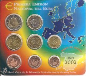 Официальный набор евро-монет  Испания 2002 BU (8 монет)