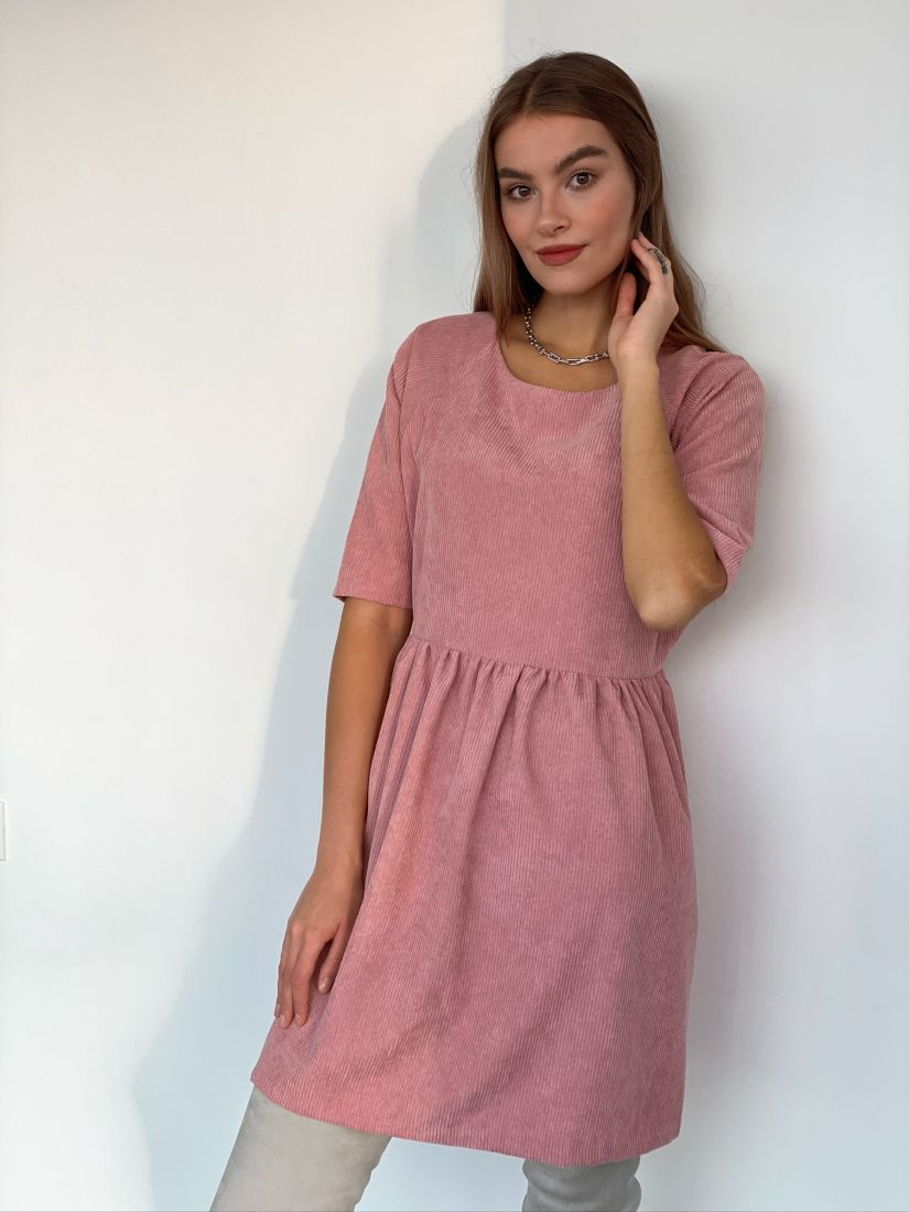 s3110 Платье вельветовое пудровое