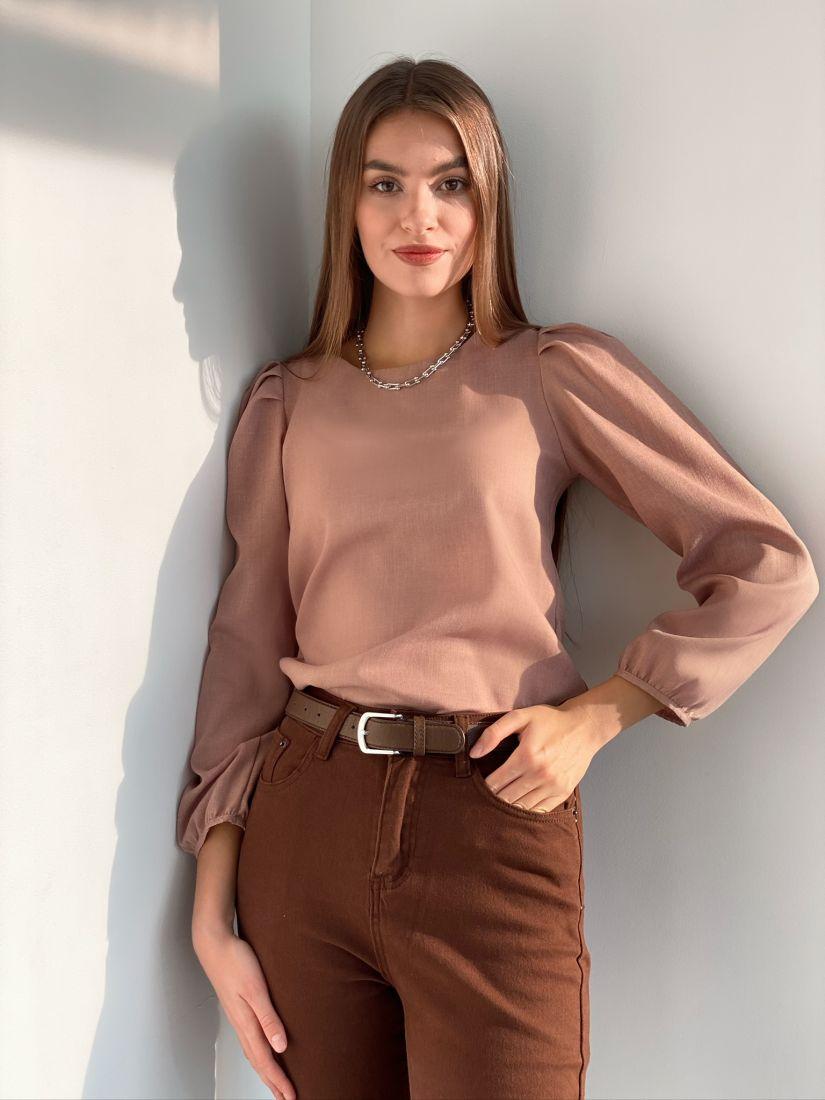 s3111 Блуза в ретро-стиле с объёмными рукавами пудровая