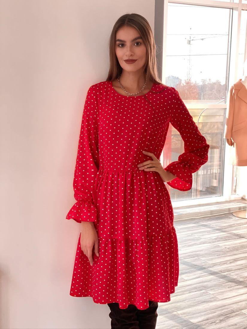 s3119 Платье трёхъярусное красное в горох