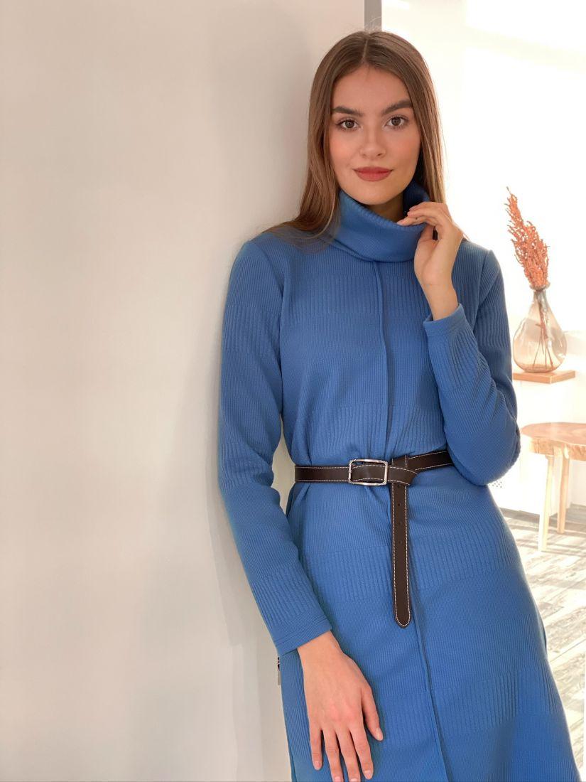 s3122 Платье-свитер с планкой голубое