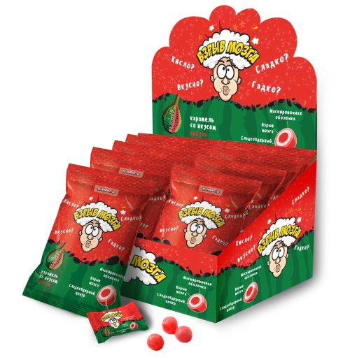 ВЗРЫВ МОЗГА карамель со вкусом арбуза в пакете, блок 24 шт. (15г х 24 х 12)