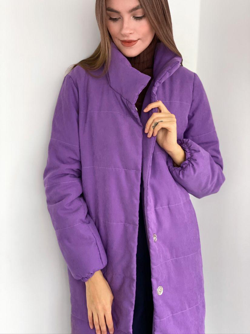 s3125 Пальто утепленное стеганое premium фиолетовое
