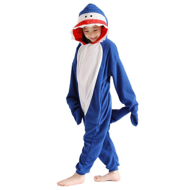 Детская Пижама Кигуруми Акула Синяя