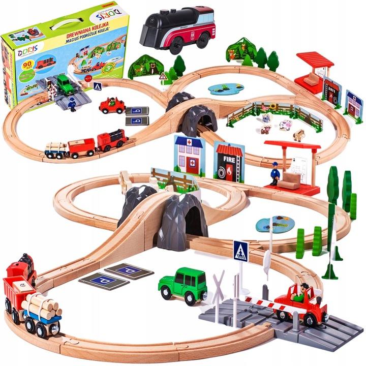 Игровой набор с железной дорогой DORIS WOODEN 91 элемент DH1639DORIS