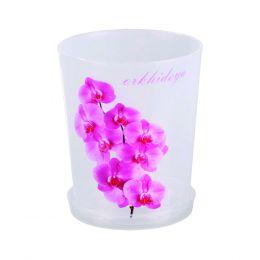 """Горшок для орхидей 1,2л 125мм с поддоном (прозрачн. с рисунком) """"Альтерантива"""" M1603"""