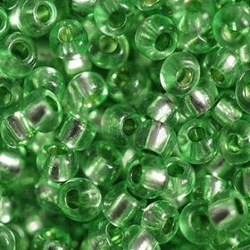 Бисер чешский 78161 зеленый прозрачный серебряная линия внутри Preciosa 1 сорт