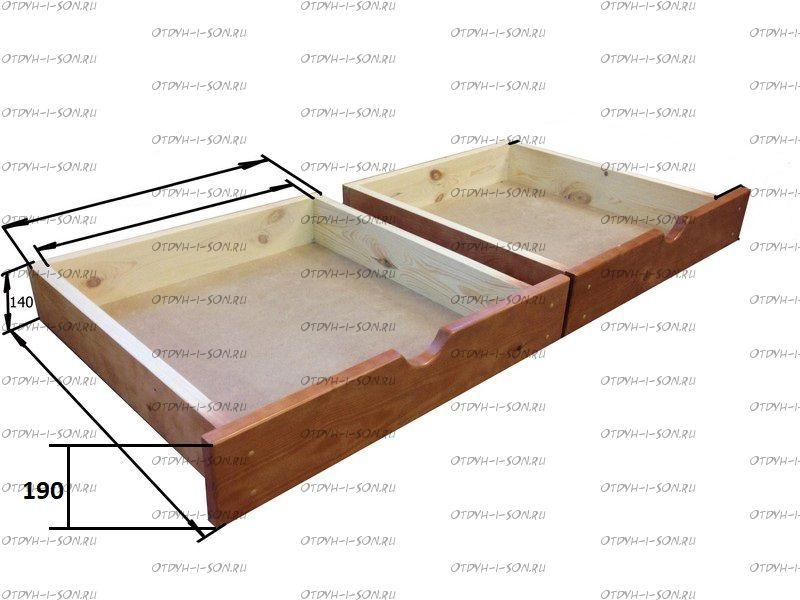 Ящики подкатные к деревянной кровати